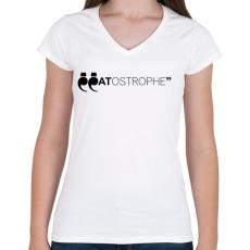 PRINTFASHION CATostrophe - Női V-nyakú póló - Fehér
