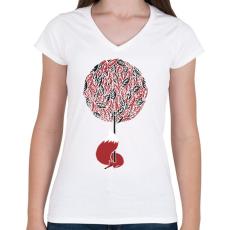 PRINTFASHION Cherry tree - Női V-nyakú póló - Fehér