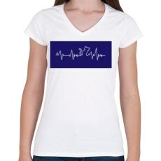 PRINTFASHION Cic ekg - Női V-nyakú póló - Fehér