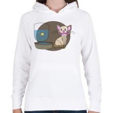 PRINTFASHION Cica és a Hal - Női kapucnis pulóver - Fehér