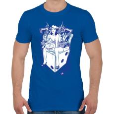 PRINTFASHION Cica - Férfi póló - Királykék