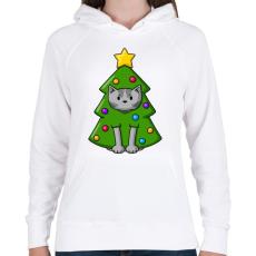 PRINTFASHION Cica karácsonyfa - Női kapucnis pulóver - Fehér