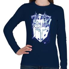 PRINTFASHION Cica - Női hosszú ujjú póló - Sötétkék