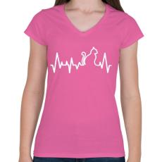 PRINTFASHION Cica szívverés - Női V-nyakú póló - Rózsaszín