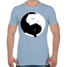 PRINTFASHION Cicus yin yang - Férfi póló - Világoskék