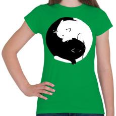 PRINTFASHION Cicus yin yang - Női póló - Zöld