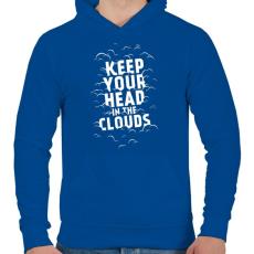 PRINTFASHION Clouds - Férfi kapucnis pulóver - Királykék