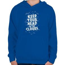 PRINTFASHION Clouds - Gyerek kapucnis pulóver - Királykék
