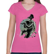 PRINTFASHION Csendet!  - Női V-nyakú póló - Rózsaszín
