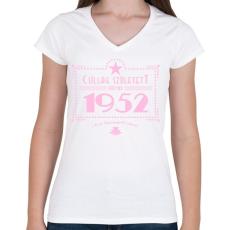PRINTFASHION csillag-1952-pink - Női V-nyakú póló - Fehér