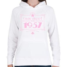 PRINTFASHION csillag-1957-pink - Női kapucnis pulóver - Fehér