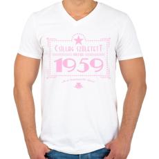 PRINTFASHION csillag-1959-pink - Férfi V-nyakú póló - Fehér
