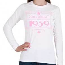 PRINTFASHION csillag-1959-pink - Női hosszú ujjú póló - Fehér