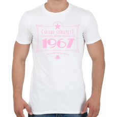 PRINTFASHION csillag-1967-pink - Férfi póló - Fehér