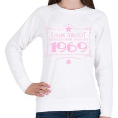PRINTFASHION csillag-1969-pink - Női pulóver - Fehér