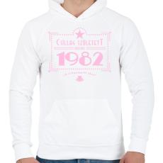 PRINTFASHION csillag-1982-pink - Férfi kapucnis pulóver - Fehér