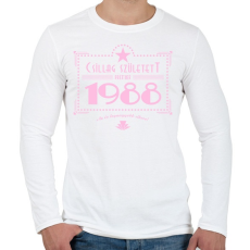 PRINTFASHION csillag-1988-pink - Férfi hosszú ujjú póló - Fehér