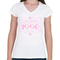 PRINTFASHION csillag-1990-pink - Női V-nyakú póló - Fehér