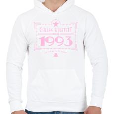 PRINTFASHION csillag-1993-pink - Férfi kapucnis pulóver - Fehér