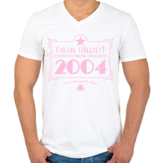 PRINTFASHION csillag-2004-pink - Férfi V-nyakú póló - Fehér