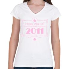 PRINTFASHION csillag-2011-pink - Női V-nyakú póló - Fehér