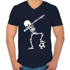 PRINTFASHION Dab foci - Férfi V-nyakú póló - Sötétkék
