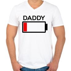 PRINTFASHION DADDY - Férfi V-nyakú póló - Fehér