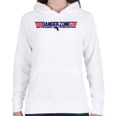 PRINTFASHION Danger Zone - Női kapucnis pulóver - Fehér