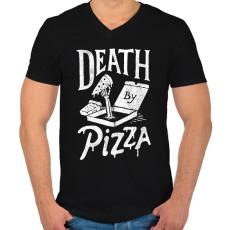 PRINTFASHION Death by pizza - Férfi V-nyakú póló - Fekete
