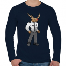 PRINTFASHION Deer Security - Férfi hosszú ujjú póló - Sötétkék