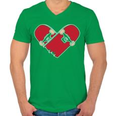 PRINTFASHION Deszka szerelem - Férfi V-nyakú póló - Zöld