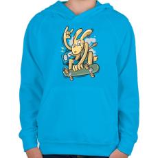 PRINTFASHION Deszkás nyúl - Gyerek kapucnis pulóver - Azúrkék