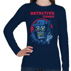 PRINTFASHION Detektív zombi - Női hosszú ujjú póló - Sötétkék