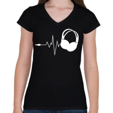 PRINTFASHION DJ love - Női V-nyakú póló - Fekete