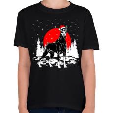 PRINTFASHION Dobermann karácsony - Gyerek póló - Fekete