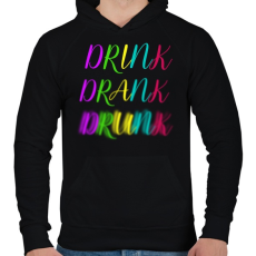 PRINTFASHION DRINK-DRANK-DRUNK - Férfi kapucnis pulóver - Fekete