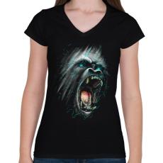 PRINTFASHION Dühöngő majom - Női V-nyakú póló - Fekete