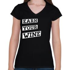 PRINTFASHION EARN YOUR WINE - Női V-nyakú póló - Fekete