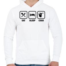 PRINTFASHION EAT SLEEP CSGO - Férfi kapucnis pulóver - Fehér