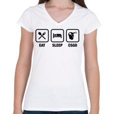 PRINTFASHION EAT SLEEP CSGO - Női V-nyakú póló - Fehér