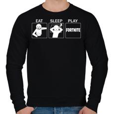 PRINTFASHION Eat, Sleep, Play Fortnite - Férfi pulóver - Fekete