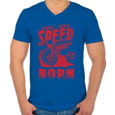 PRINTFASHION Égető sebesség - Férfi V-nyakú póló - Királykék