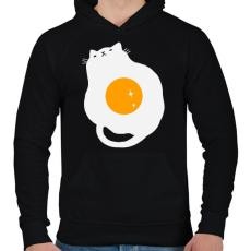 PRINTFASHION Egg Cat - Férfi kapucnis pulóver - Fekete