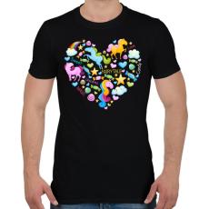 PRINTFASHION Egyszarvú szív - Férfi póló - Fekete