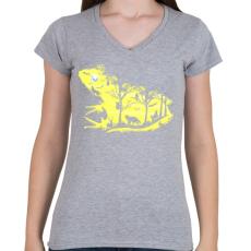 PRINTFASHION Éjjeli béka - Női V-nyakú póló - Sport szürke