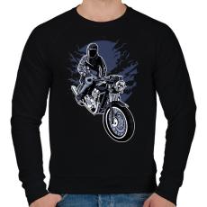 PRINTFASHION éjszakai motoros - Férfi pulóver - Fekete