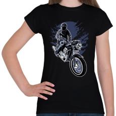 PRINTFASHION éjszakai motoros - Női póló - Fekete