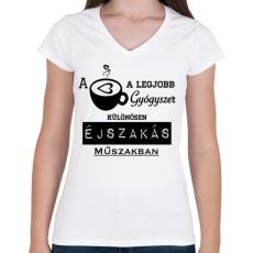 PRINTFASHION ÉJSZAKÁS MŰSZAK - Női V-nyakú póló - Fehér
