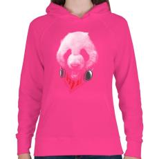 PRINTFASHION Elegáns panda  - Női kapucnis pulóver - Fukszia