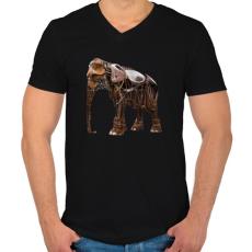 PRINTFASHION Elephant - Férfi V-nyakú póló - Fekete
